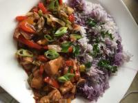 Hähnchen mit Gemüse süss-sauer mit Basmatireis