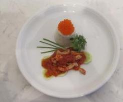 Buttermilch-Frischkäseterrine mit Flußkrebsschwänzen und Tomatenvinaigrette
