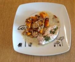 All-in-one Hähnchenbrust mit Kürbisgemüse und Pilzen