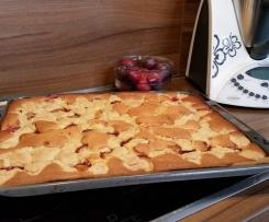 Saftiger Blech Pflaumen Streuselkuchen mit Vanillepudding