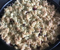 Rhabarber-Streuselkuchen mit Pudding ohne Matsch