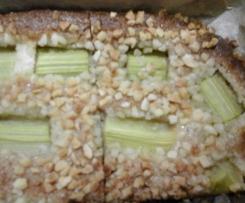 Rhabarber Marzipan Blechkuchen