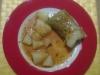 Wirsingrouladen mit Kartoffeln und Soße
