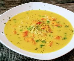 Süßkartoffel-Curry-Reis Suppe