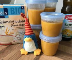 vegetarischer Babybrei mit Kartoffel, Karotte, Fenchel und Dinkel Haferflocken ab dem 4 Monat