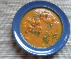 Karotten-Kokos-Suppe mit Ingwer und Mango