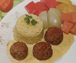 Hackbällchen italienisch mit Reis und Gemüse