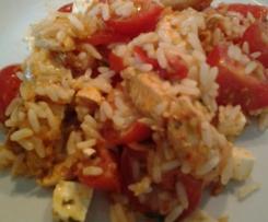 Variation von Tomatensalat mit mariniertem Hähnchen