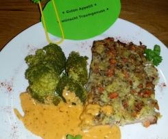Leberkäse mit Gemüsedecke und Camembert-Soße