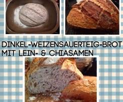 Feierabendbrot * Dinkel-Weizensauerteig-Brot mit Lein- & Chiasamen
