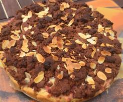 Rhabarber Kuchen mit Vanille Pudding und Kakao Krümeln
