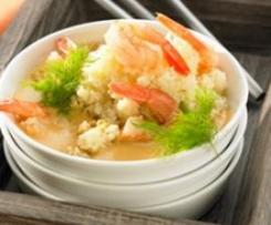 Garnelen-Couscous mit Meeresfrüchtecreme