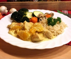 Putenfilet in Currysauce mit Pfirsichen