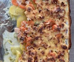 Kartoffel-Möhren-Schinken-Gratin