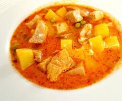 Champignon – Kartoffelsuppe mit Putenfleisch und Frischkäse