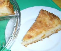 Pfirsich/Zuckeraprikosen Kuchen mit Milchmädchenglasur