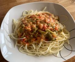 Brokkoli-Paprika Soße zu Nudeln (Veggie)