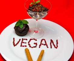 Vegane Vanillepudding mit Schoko-Muffins FETTARM und Goij Beeren