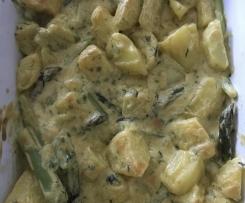 Kartoffel-Spargel-Bärlauch Auflauf