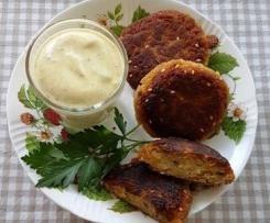 Linsen-Frikadellen mit Curry-Joghurt-Dip