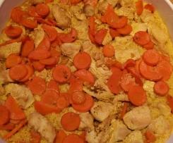 Couscous- Auflauf mit Möhre und Pute in Curry-Kokosnuss