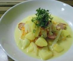 Kartoffel-Fenchel-Eintopf mit Curry und Mettendchen