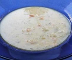 Zwiebelsuppe mit Krabben