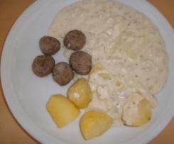 All-in-one Putenbratwurst-Bällchen mit Kartoffeln & Rahmkohlrabi