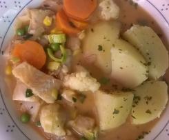 Fischpfanne mit Gemüse, all-in-one