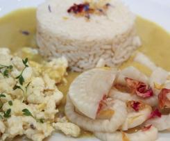 Fenchel-Blütengemüse mit Reis an Curry-Sauce