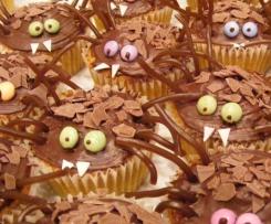 Halloween Spinnencupcakes (Karottenkuchen ohne Nüsse)