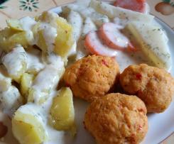 Fischbällchen mit Kartoffeln, Gemüse und Sauce (All in one)