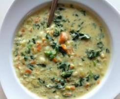 schnelle, kalorienarme Variante d. Spinat-Kartoffel-Suppe (vegan)