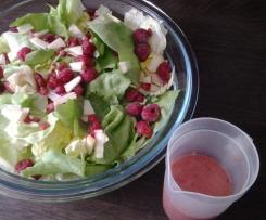 knackiger Blattsalat mit fruchtigem Himbeerdressing
