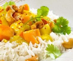 Kürbis Apfel Curry mit Mangodip