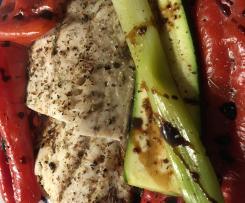 gedünstetes Balsamico Gemüse mit Limetten Seelachs  - HCG Diätphase