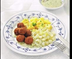 Bratwurstbällchen mit Kohlrabi und Kartoffeln (Finessen 03/2014)