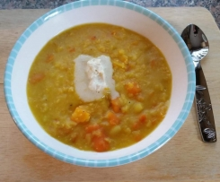 Linsen-Curry-Suppe mit Kokossahne