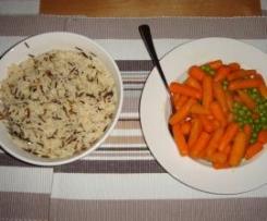 Erbsen und Möhren und Reis als Beilage zu Fischstäbchen  fast all in one