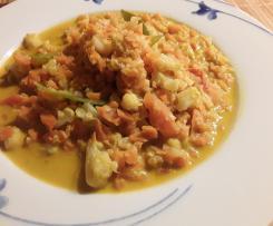 Scharfes Blumenkohl-Curry mit Cashews oder Mandeln