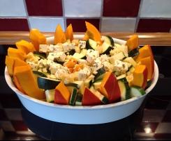 Gebackener Kürbis mit Zucchini und Feta