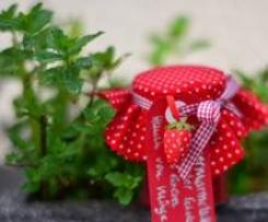 Erdbeermarmelade mit weißer Schokolade und einem Hauch von Minze