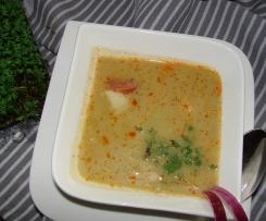 Suppe vom Spitzkohl mit Chorizo und Kabeljau