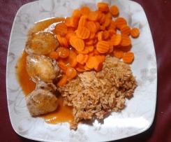Hähnchenbrustfilet - Sattmacher - mit Möhren und Reis