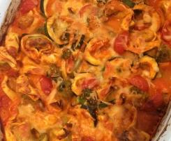 Ofentortellini mit buntem Gemüse an Tomaten-Käsesoße (WW geeignet)