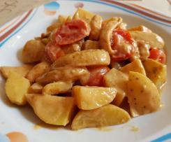 Hähnchen-Kartoffel-Gulasch süßlich und scharf