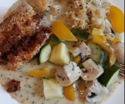 Putenrouladen mediteran gefüllt mit Reis & Gemüse & Soße