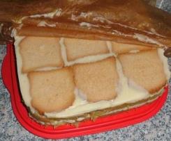 Zwieback Kuchen Mit Rhabarber Pudding Aus Dem Kuhlschrank Von