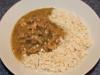 Gyros mit Reis und Champignonsoße