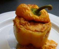 gefüllte Paprika mit Sauerkraut und Feta